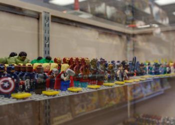 Shelf full of LEGO pieces inventory in a Bricks & Minifigs LEGO Toy Store